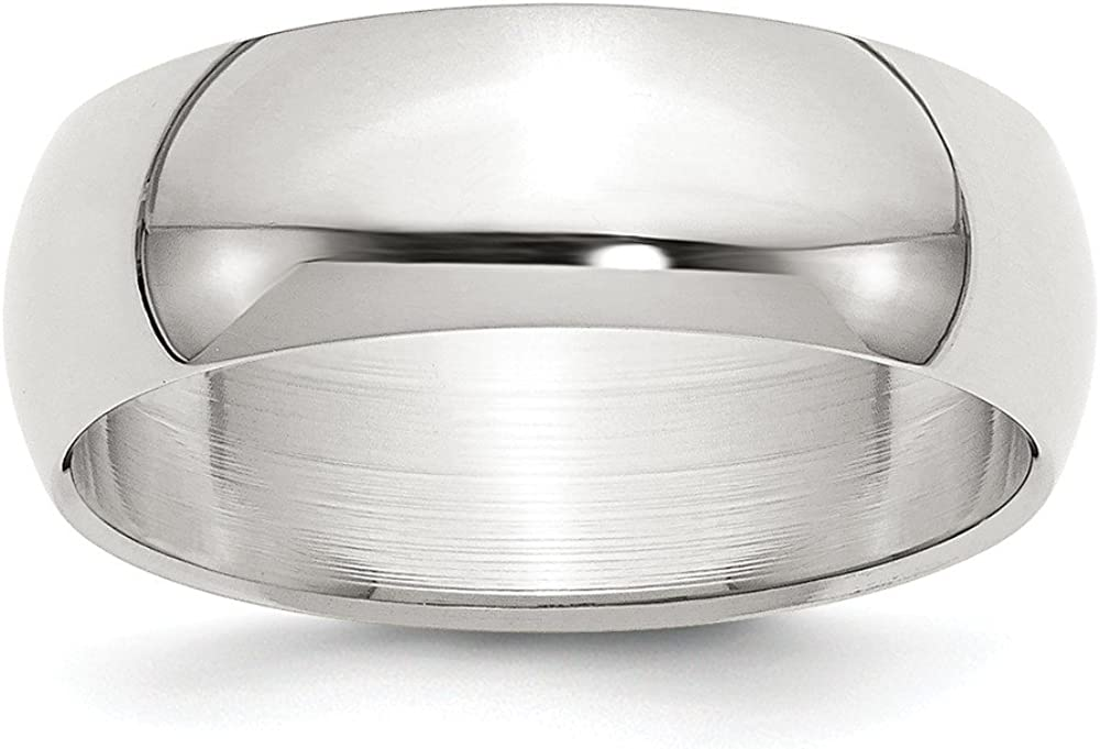 Wedding Bands Classic Bands Domed Bands Sterling Silver 7mm Half-Round Band Size 12