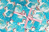 Gift Wrapping Paper 30'' x 84'' Sheet Vintage Style (Unicorn Blue)