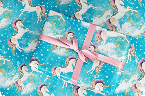 Gift Wrapping Paper 30'' x 84'' Sheet Vintage Style (Unicorn Blue) by TheNameStore