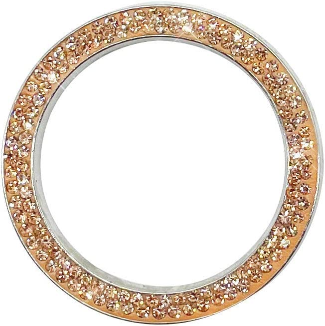 Bling Crystal Rhinestone Ring for Car Decoration, Auto Engine Start Stop, Key Ignition Starter & Knob Ring Décor Gold