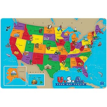 Amazon Com Educational Insights U S A Foam Map Puzzle