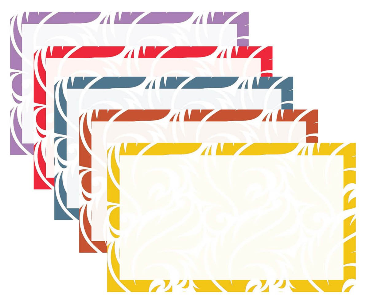 Debra Dale Designs - 200 Unruled 3'' X 5'' Index Cards Paisley Border 5 Colors - Premium 140# Heavy Thick Index Card Stock - 2 Shrunk Wrapped Packages Of 100 Cards - Printed in the U.S.A.