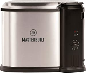 Masterbuilt MB20010118 Electric 3 in 1 Deep Fryer Boiler Steamer Cooker with Basket, Adjustable Temperature, and Built In Drain Valve for Kitchen Fry Cooking, Silver