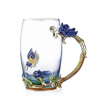Royal Elegante taza de cristal floral para boda flor de luz, tazas de café con
