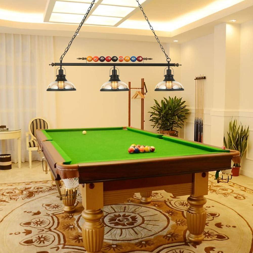 Ladiqi - Lámpara de techo colgante para mesa de billar con 3 luces ...
