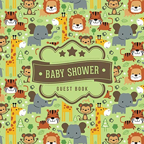 Baby Shower Guest Book: Cute Jungle Animals Pattern | + BONUS Gift Tracker Log | Keepsake Guestbook | Advice Wishes and Predictions ()