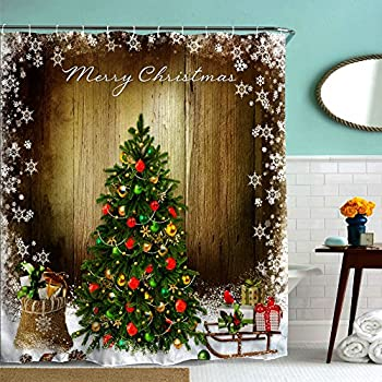 Vintage Christmas Tree Holiday Presents Ornaments Shower Curtain Waterproof Polyester Fabric Bath Curtains Brown