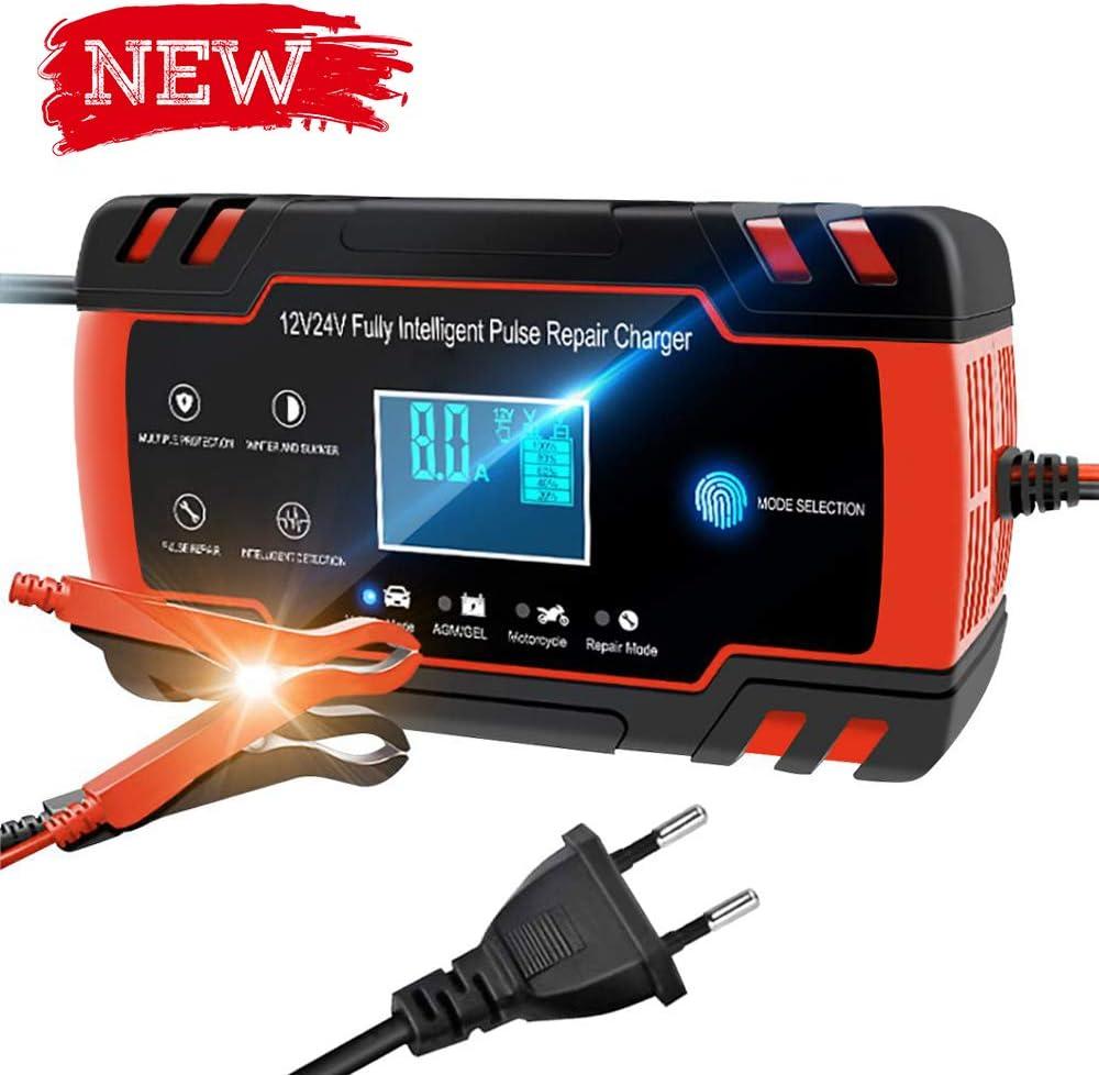 Directtyteam Cargador de batería Inteligente portátil 8A 12V / 4A 24V Pantalla LCD con múltiples Protectores Tipo de reparación para batería de automóvil Motocicleta (Negro Rojizo)