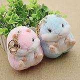 Hamster Mini Key Chain Bag Backpack Plush Soft Doll Animal Stuffed Toy Girl Kids pink