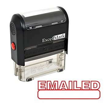 Amazon.com : EMAILED Self Inking Rubber Stamp - Red Ink : Business ...