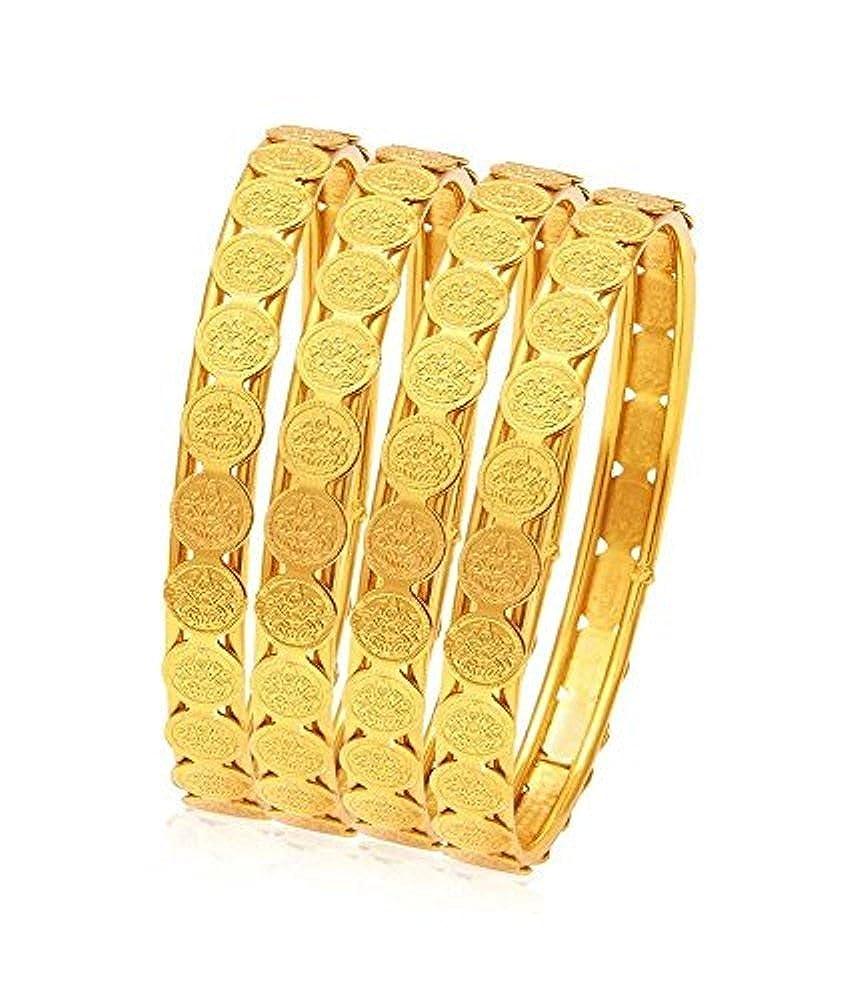 Shourya Exports 18K Laxmi Coin 2.4 inch Bangle Bracelet 4pc Set
