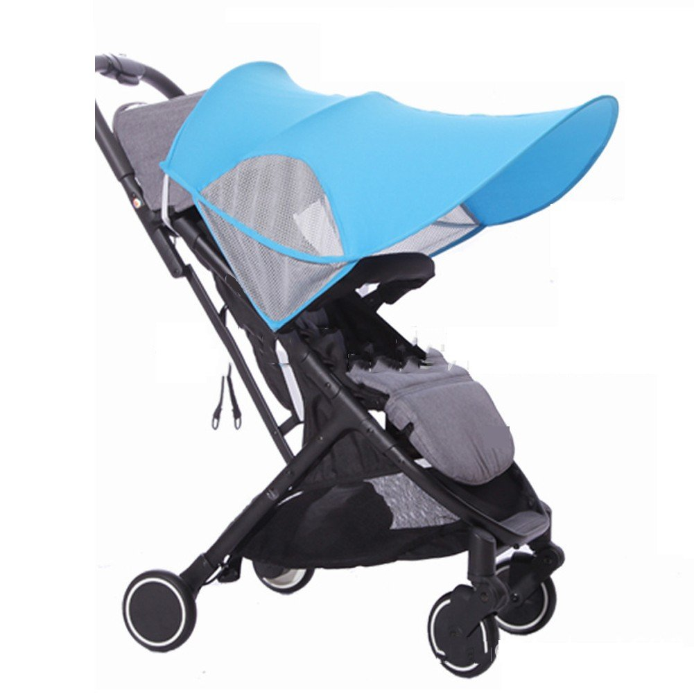 Stroller Sunshade Baby Car Seat Canopy Cover, Infant Pram UV Protection Cover, Blackout Blind, Universal, Zip up Window & Mesh, Detachable, Extra-Large Size,Blue