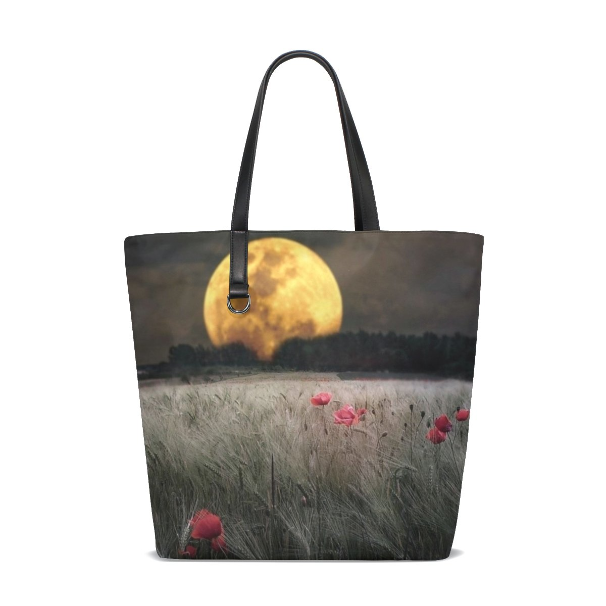 Moon Sky Field Double Sides Printing Daily Tote Bag Shopping Handle Bags for Women Girls