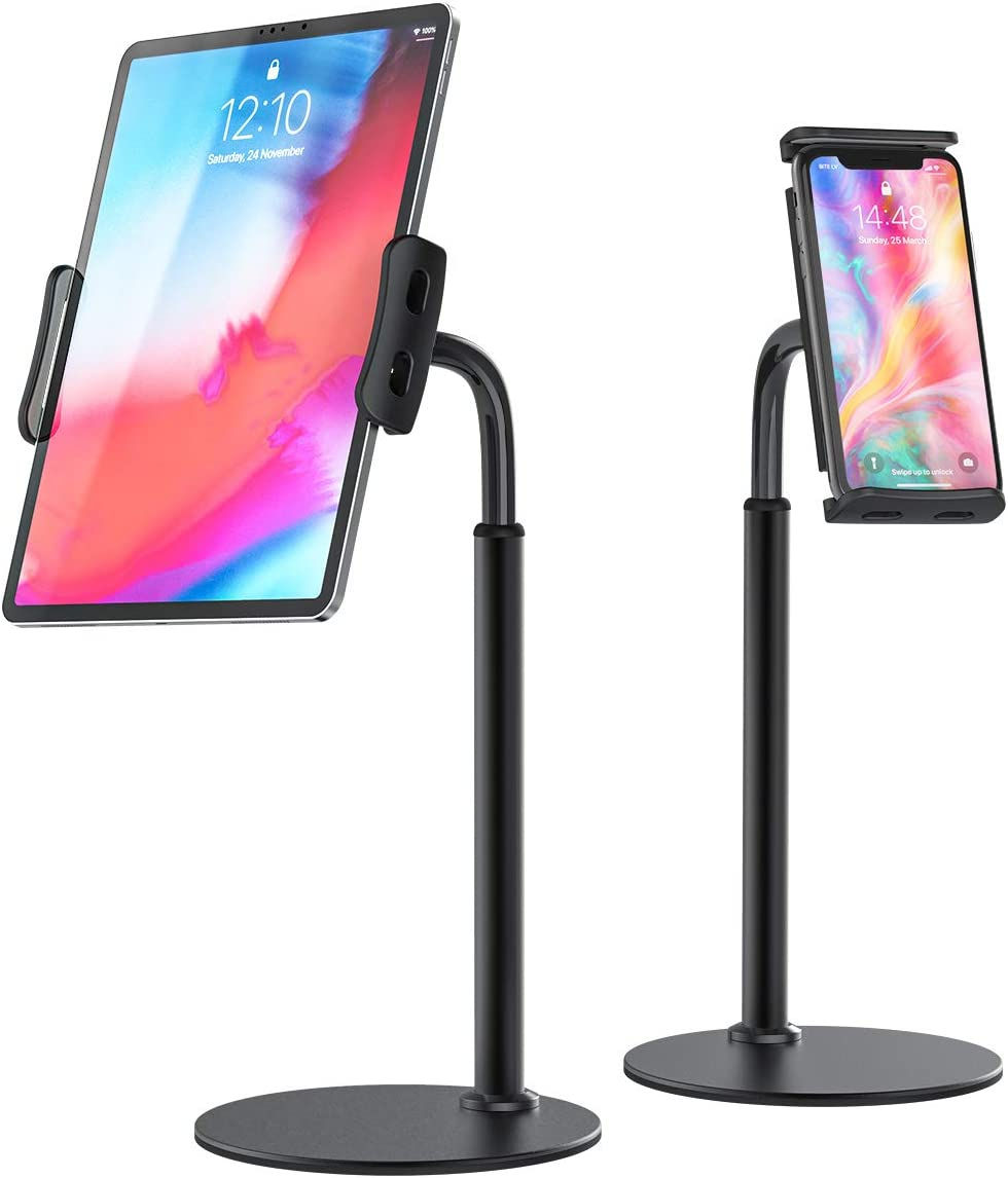 "BILLKAQ Tablet Stand, Height Adjustable Desktop Tablet Holder 360° Rotating Gooseneck Phone Stand Holder with Stable Base Compatible with iPad/iPhone/Kindle and Other 4.7""-10.5"" Devices"