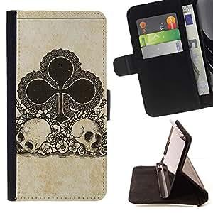 Momo Phone Case / Flip Funda de Cuero Case Cover - Clubes Ace Juego Tarjetas Poker Skull - Samsung Galaxy J1 J100
