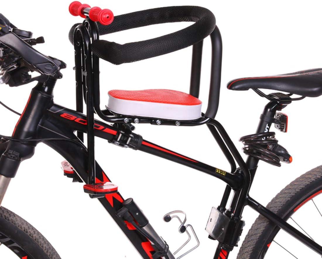 Ggoddess - Asiento Infantil de Seguridad para Bicicleta, portabebés, portabebés, portabebés, Asiento Delantero para Bicicleta con reposamanos y Punto de Apoyo, Color Rojo