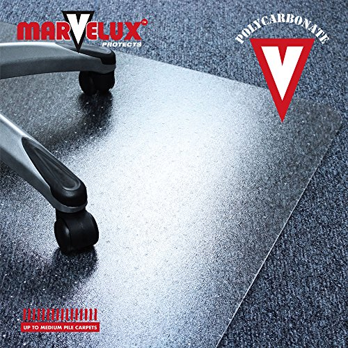 Marvelux 47'' x 53'' Polycarbonate (PC) Lipped Chair Mat for Low, Standard and Medium Pile Carpets | Transparent Carpet Protector | Multiple Sizes by Marvelux (Image #4)