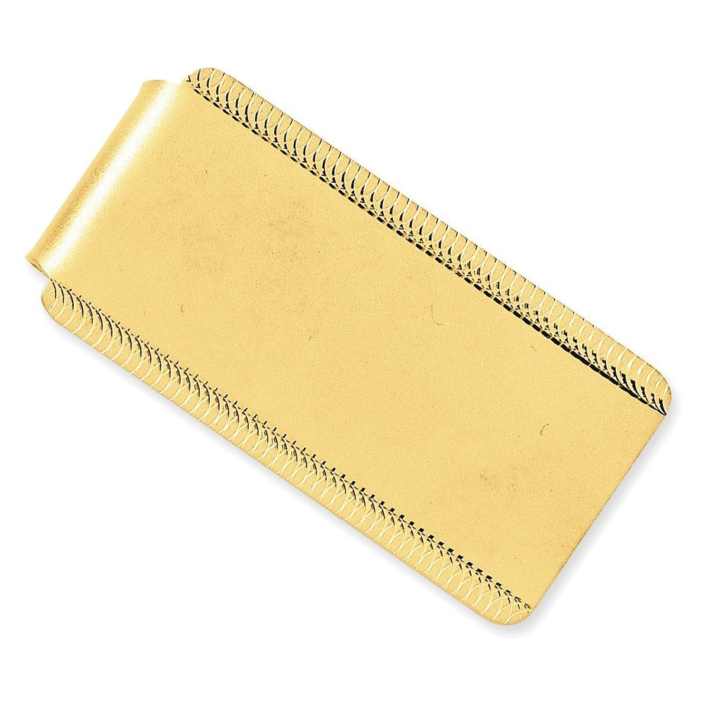 14k Satin Polished Engraveable Edged-Design Money Clip