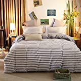 ZHIMIAN Reversible 3 Piece Striped Print Duvet Cover Set with Zipper Closure(1 Duvet Cover + 2 Pillow Shams),Ultra Soft(Queen Gray)
