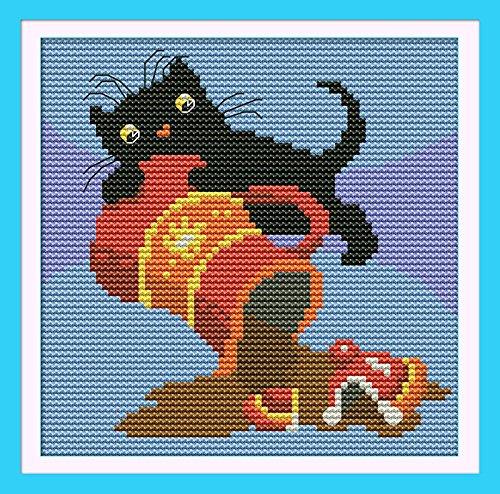 "NKF Cross Stitch Kit, Black cat (3) (coffee), 11CT Counted, 23cmX23cm or 9.2""X9.2"""
