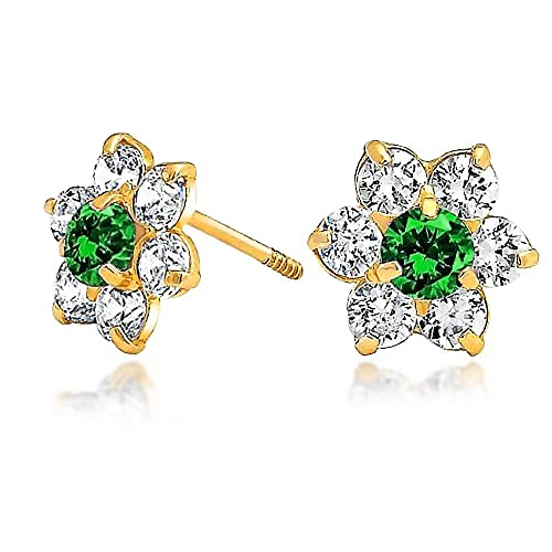 Tiny Green CZ Flower Stud Earrings For Women For Teen Cubic Zirconia Simulated Emerald 14K Real Gold Screwback