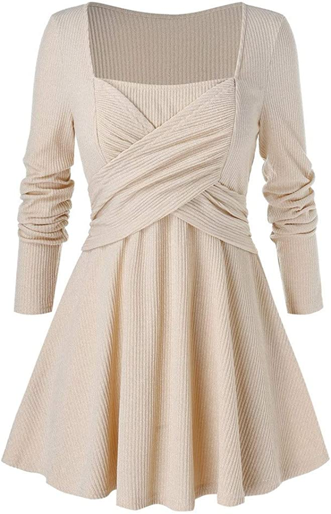 Dainzuy Womens Sweatshirts Solid Plus Size T Shirt Chest Cross Blouses Tops Long Sleeve Asymmetric Swing Tunic