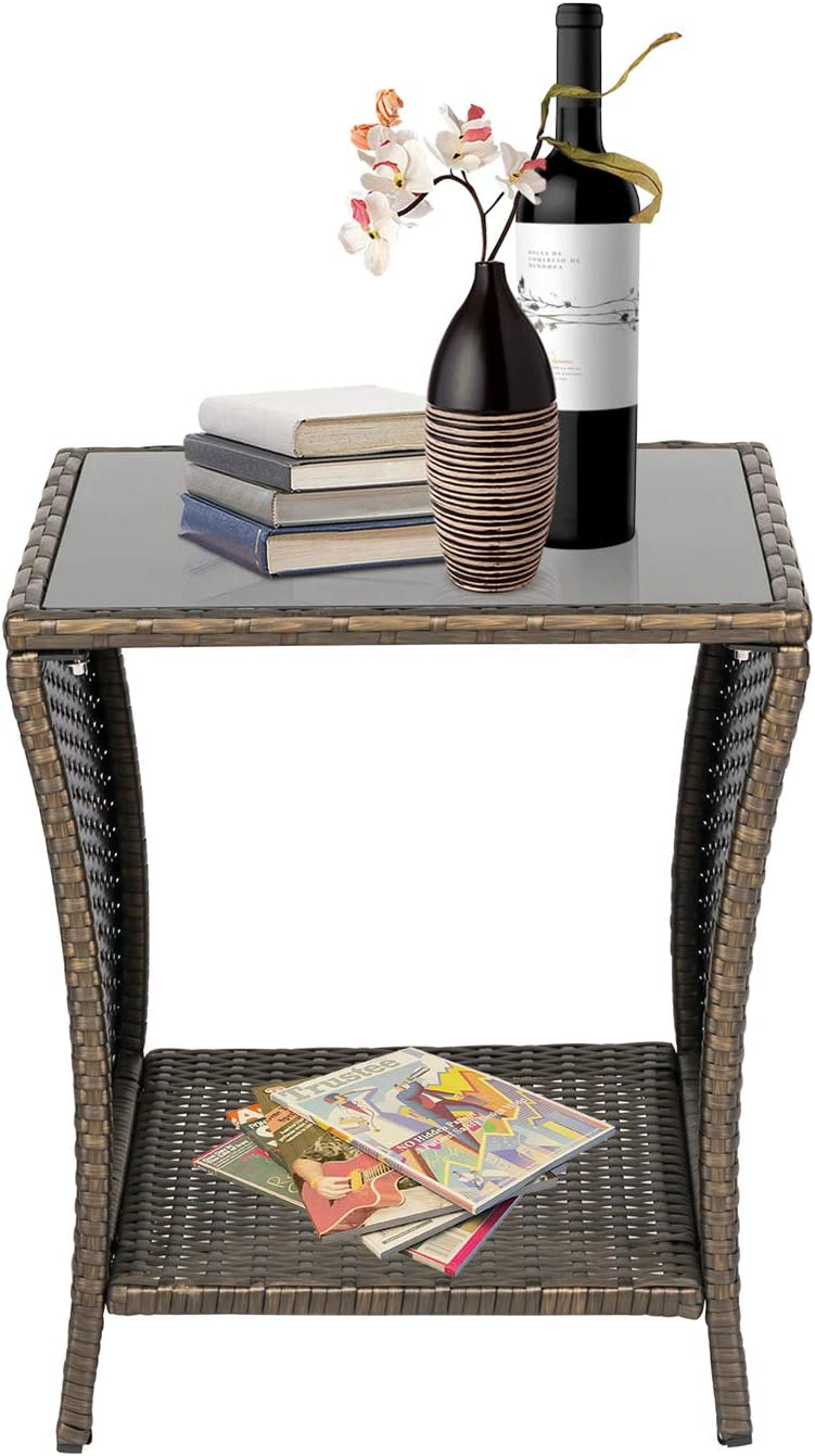 Patio Side Table Wicker PE Rattan Outdoor Square Coffee Table Outdoor Bistro Table for Garden Lawn Deck Porch Pool