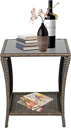 Kinbor Patio Side Table Wicker PE Rattan Outdoor Square Coffee Table Outdoor Bistro Table