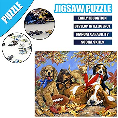 Jigsaw Puzzles 1000 Piece for Adults Dog Puppy Painting Puzzle Toy Home Decor Unique Gift: Toys & Games