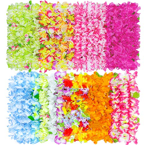 BOSHENG Hawaiian Colorful Luau Flower Leis Necklaces for Party Event,Set of 30 -