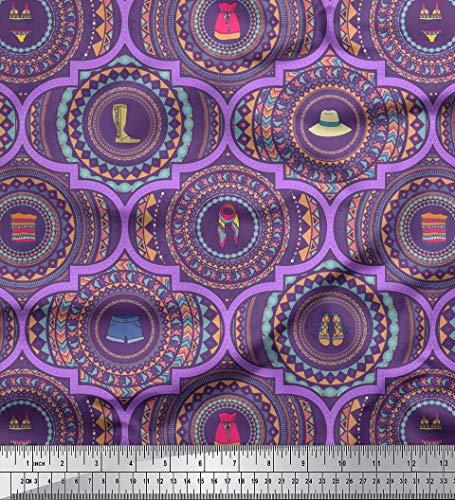 Soimoi Purple Velvet Fabric Footwear & Cloth Fashion Printed Fabric 1 Yard 58 Inch Wide