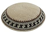 Zion Judaica Knit Quality Kippot for Affairs or Everyday Use Single or Bulk Orders - Optional Custom Imprinting Inside for Any Event (1PC, Beige Elegance)