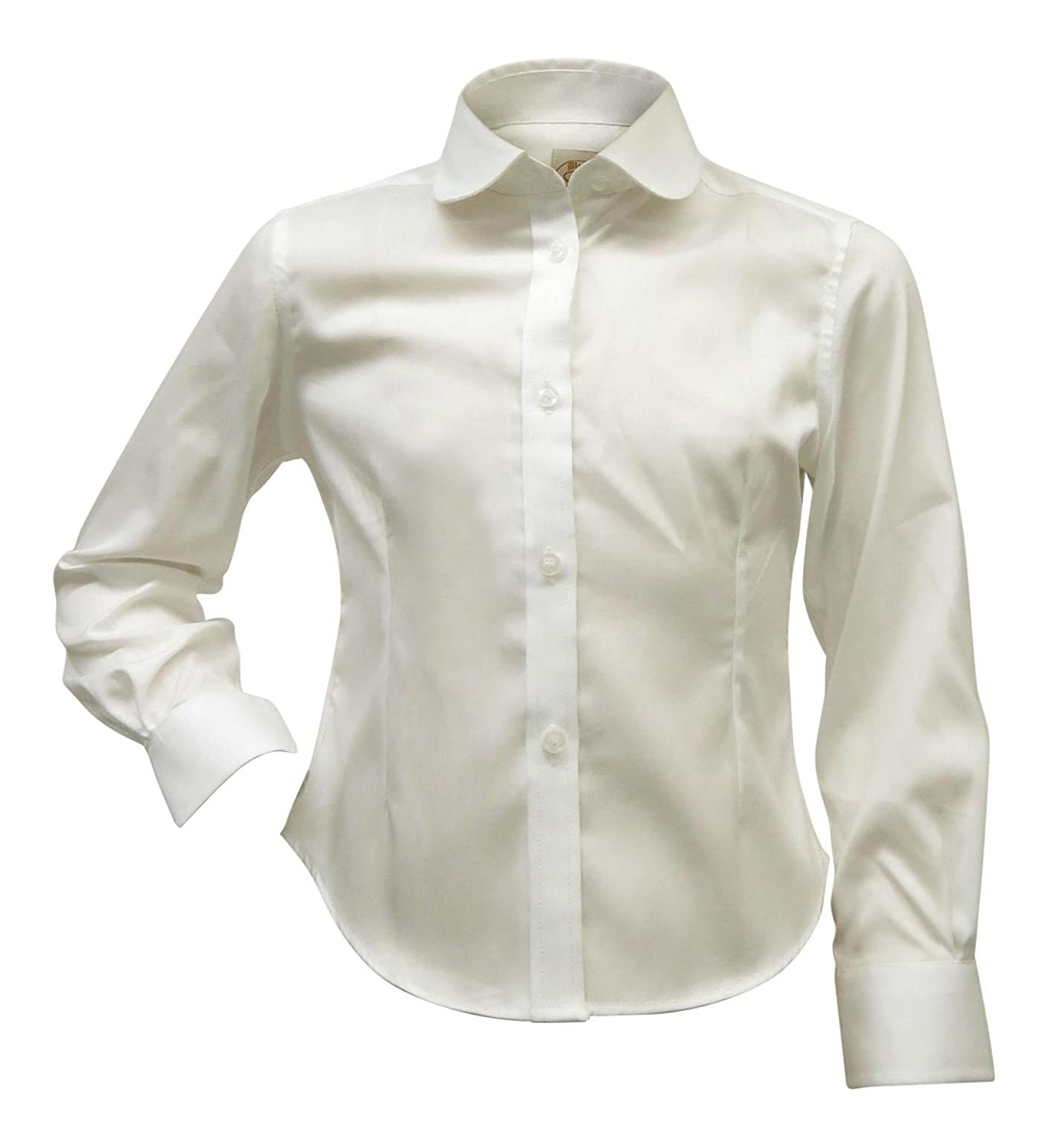 Blooks Girls Long Sleeve Button Down Shirt Blouse Pointy Round Scalloped Collar 9340-41