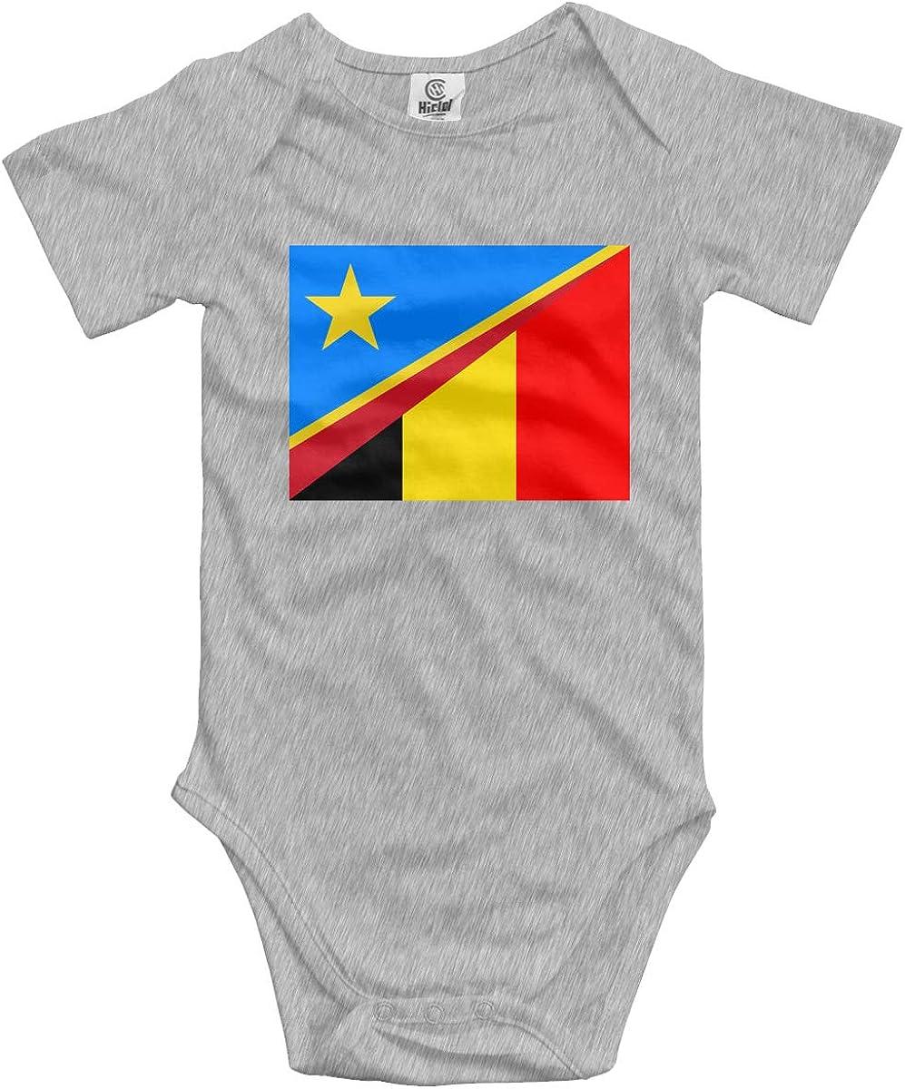 CUTEDWARF Baby Short-Sleeve Onesies Belgium Flag Bodysuit Baby Outfits
