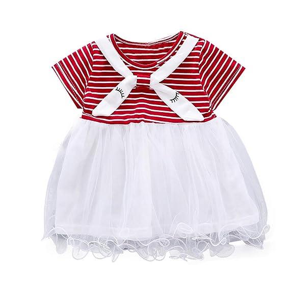 K-Youth Bebé Niña Vestido de Encaje de Malla de Arco de Manga Corta ...