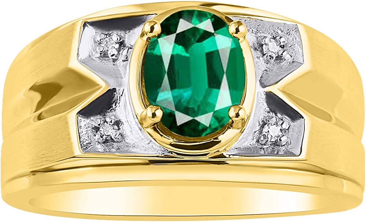 RYLOS Mens Ring with Oval Shape Gemstone /& Genuine Sparkling Diamonds in 14K Yellow Gold Plated Silver .925-8X6MM Color Stone