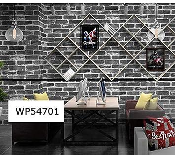 Store2508 3d Effect Textured Retro Brick Pattern Wallpaper Black 0 53 X 10 Metres 57 Sq Ft
