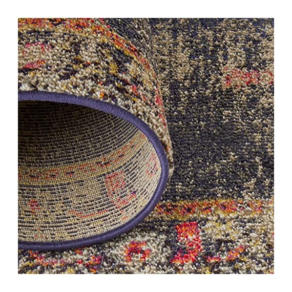 "Amazon Brand – Rivet Distressed Color Medallion Rug, 2'6"" x 8', Navy - Pile: 100% Polypropylene, Backing: 100% Jute Imported Inspired by traditional Persian textiles, this eye-catching design features a color-splashed, faded, all-over medallion pattern. Durable, machine-woven synthetic fibers keep this rug looking fresh and feeling soft to the touch, even in high-traffic spaces. - runner-rugs, entryway-furniture-decor, entryway-laundry-room - 61MyNio vAL. SS570  -"