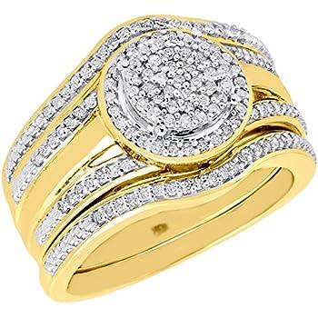 Amazon.com: 10K Yellow Gold Round Cut Diamond Cluster Halo
