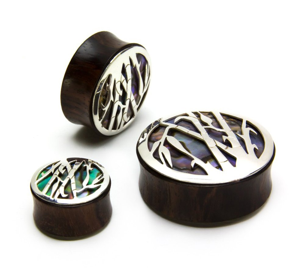 Elementals Organics Sono Wood Plug for Ear - Ear Gauge with Silver Bamboo Negative Space Art Inlay, 28mm, 1-1/8 Inch, 2 Earrings