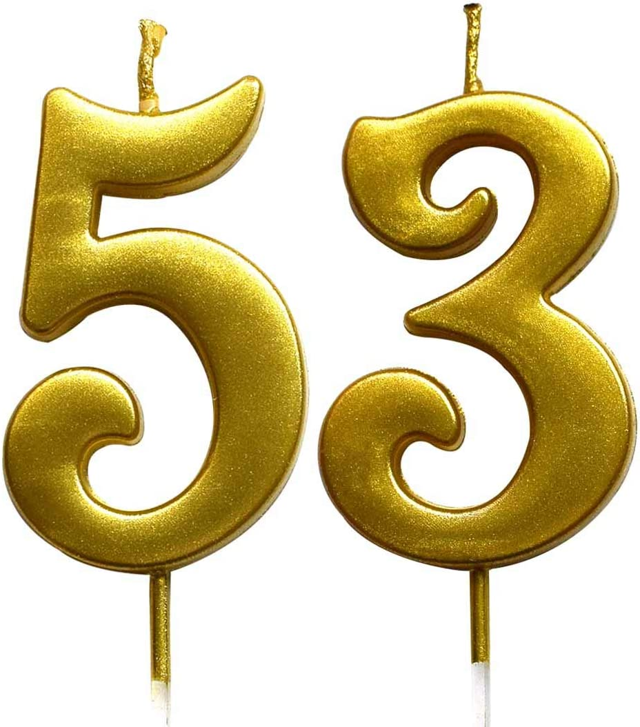 MAGJUCHE Gold 53rd Birthday Numeral Candle Number 53 Cake Topper Candles Party Decoration for Women or Men
