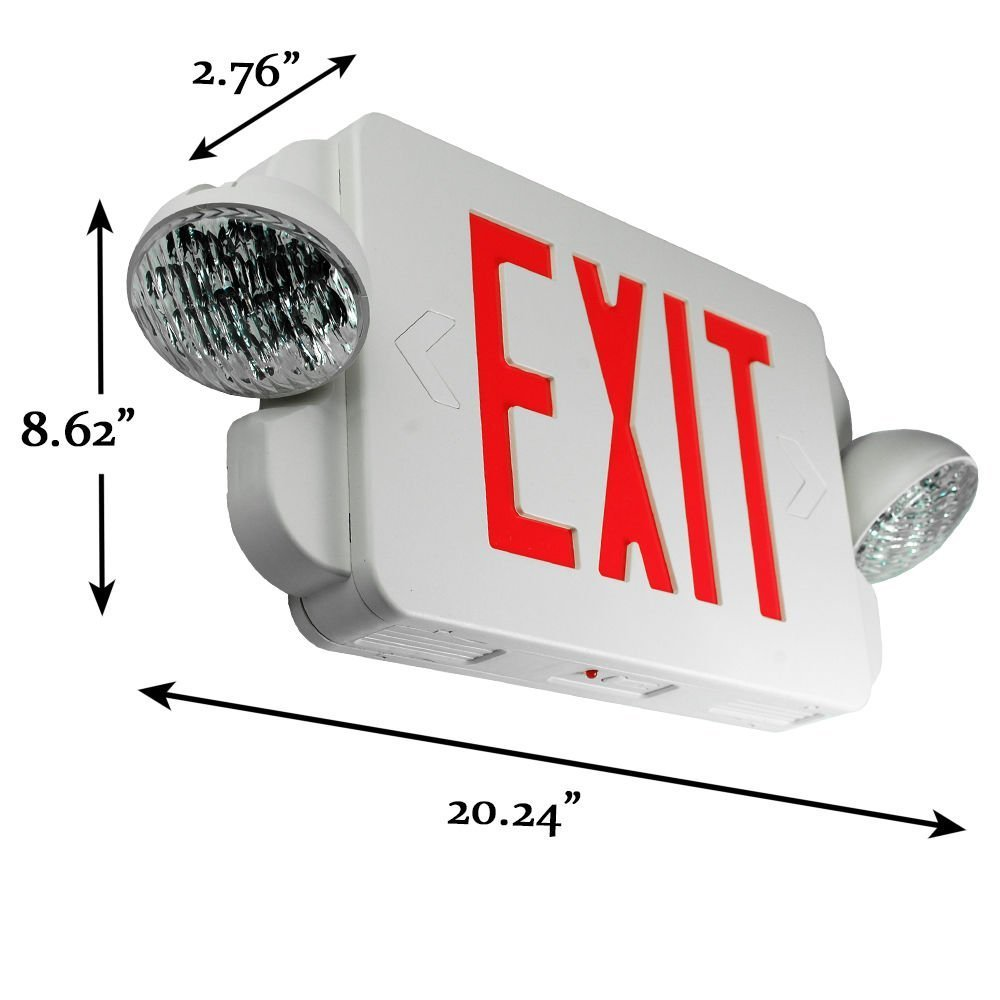 Etoplighting 2 Packs Of Led Red Exit Sign Emergency Light Combo With Automatic Low Power Battery Back Up Ul924 Etl Listed El2br Commercial Lighted Signs