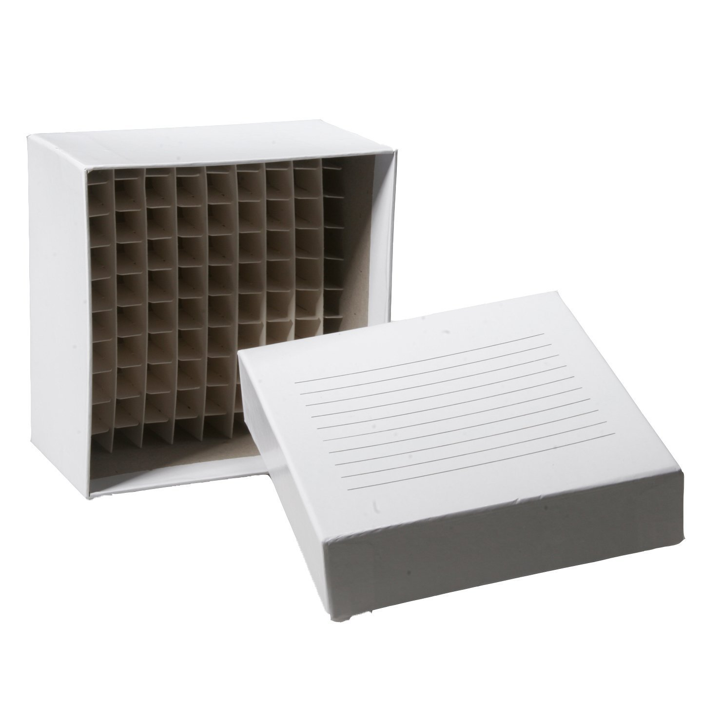 Biologix 90-1200-10 Cardboard Freezer Box with Lid, 100 Well Capacity, 5-1/4'' Length x 5-1/4'' Width x 2'' Height (Box of 10)