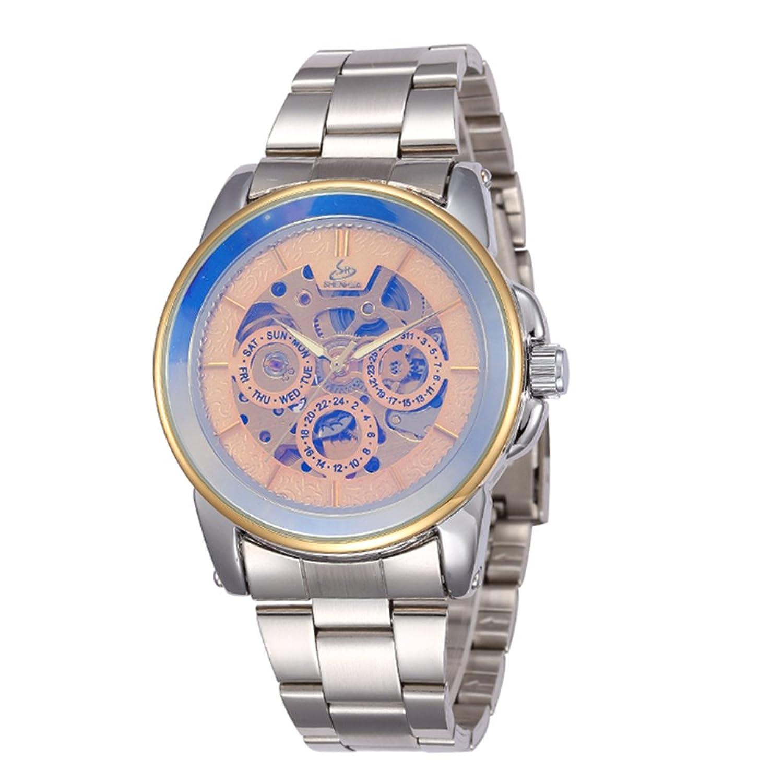 SHENHUAファッションメンズコーティングガラスAuto Mechanicalステンレススチールストラップ腕時計 B06Y44RKXS