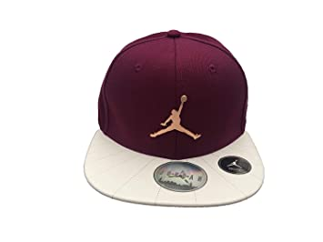 Jordan Boy`s Air Jumpman Faux Leather Flat Brim Snapback Adjustable Cap  (Bordeaux( 561c0159f6f