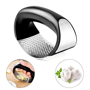 DLseego Garlic Press Stainless Steel Design And Ergonomic Handle Rocker Garlic Crusher Squeezer Slicer Kitchen Gadget