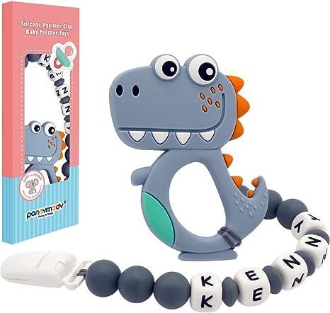 Gris Panny /& Mody Chupetero Personalizado Para Bebe con Nombre Bola Silicona Antibacteria con Dinosaurio Lindo Mordedores