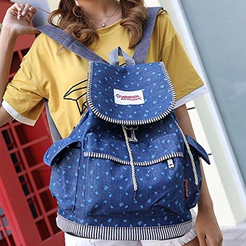 Sunshinehomely Women Girls Denim Drawstring Backpack Leisure Student Schoolbag Large Capacity Double Shoulder Travel Bag by Sunshinehomely (Image #1)