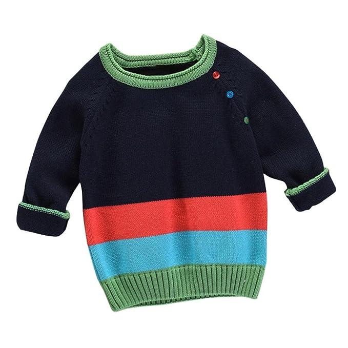 Logobeing Mangas largas bebé niñas niños suéteres de punto suéteres abrigo ropa abrigos blusas (Azul