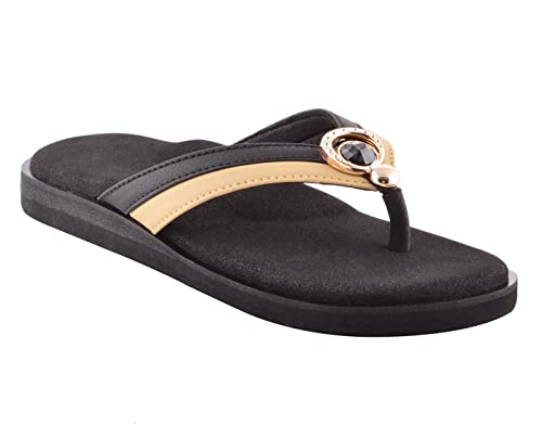b758f3237 Dia One Orthopedic Sandal Rubber Sole MCP Insole Diabetic Footwear for Women  (Black Multicolor Ring Top Dia 64)  Buy Online at Low Prices in India -  Amazon. ...